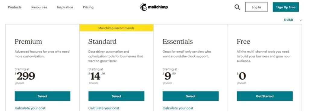 MailChimp定价计划